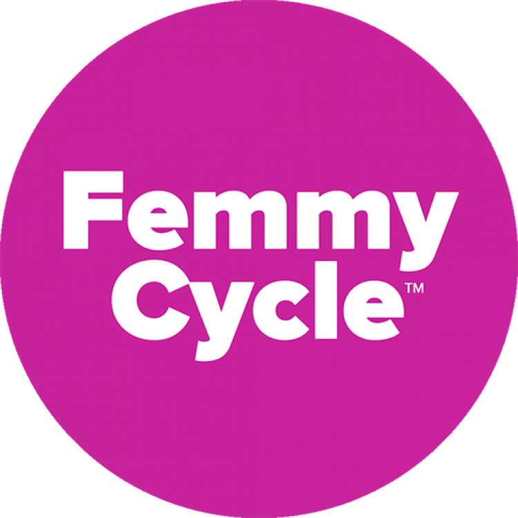 round magenta circle with FemmyCycle written on it